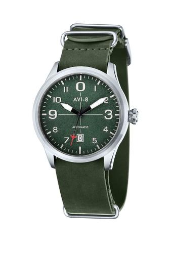 AVI-8 green Flyboy Leather Strap Watch AV642AC48JWLPH_1