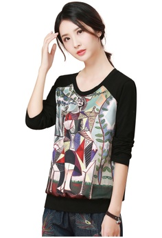 2b4f4fa398e A-IN GIRLS black Abstract Pattern Round Neck T-Shirt 16936AA55B85A5GS 1