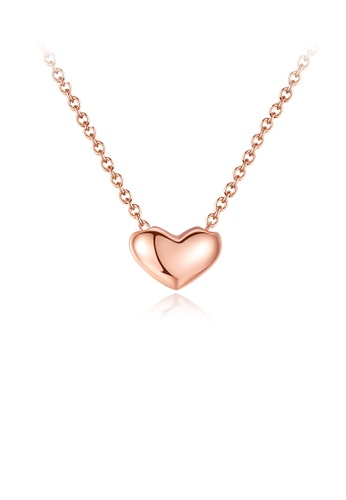 Glamorousky silver 925 Sterling Silver Plated Rose Gold Simple Romantic Heart Pendant with Necklace 4EBFCAC59638D5GS_1
