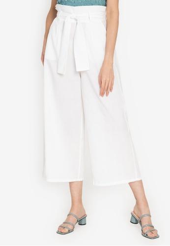 ZALORA BASICS white High Rise Paperbag Culottes 7EF80AA1507B9EGS_1