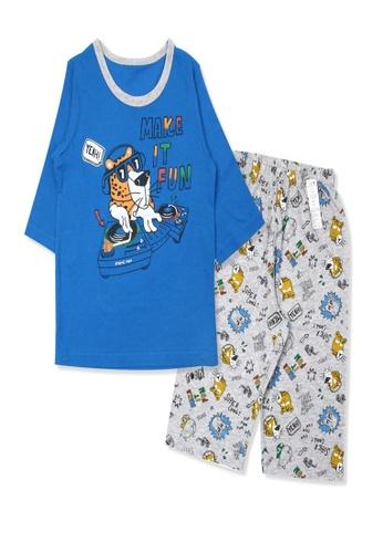Organic mom blue Organic Cotton DJ Tiger 3/4 Sleeves Pjs FED89KAAAE7C49GS_1