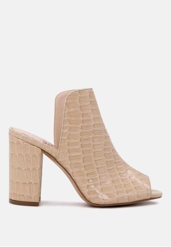 London Rag 米褐色 制作于London Rag 鳄鱼纹露趾女式拖鞋 682C8SH74F563BGS_1