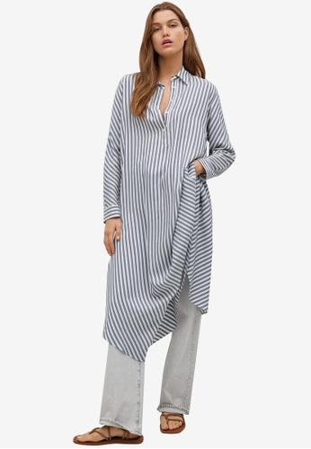 Mango blue Striped Shirt Dress ADE07AA3C89F27GS_1