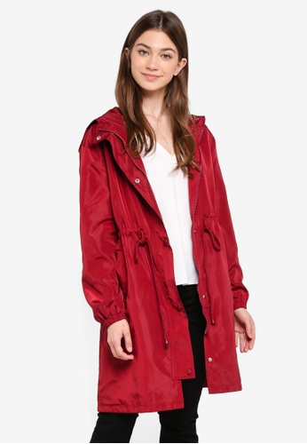 Something Borrowed red Nylon Parka With Hood DE618AAC21F7BEGS_1
