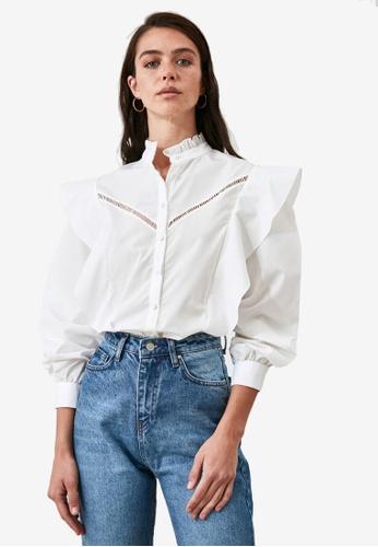 Trendyol white Openwork Ruffle Detail Shirt 18274AAAAB14D0GS_1