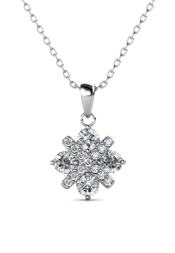 Her Jewellery silver Cross Petal Pendant (White Gold) - Made with premium grade crystals from Austria 19720AC409B86EGS_1