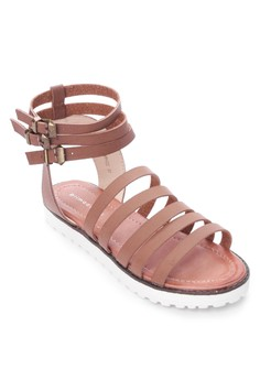 Ankle Buckle Strappy Flat Sandals