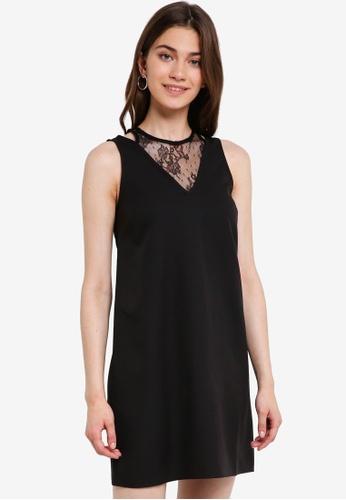 Something Borrowed black Lace Panel Sleeveless Shift Dress EE886AA95C6F21GS_1