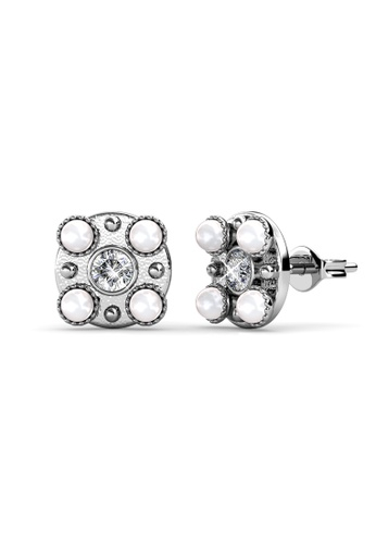 Her Jewellery white and silver Bronx Earrings (White Gold White) -  Embellished with Crystals from Swarovski® F9F5DACF977574GS_1