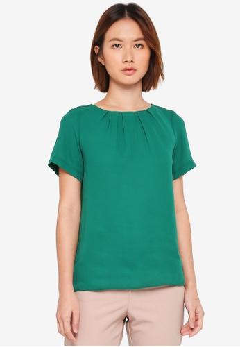 Dorothy Perkins green Green Piped Short Sleeve Top 57C4AAAA038638GS_1