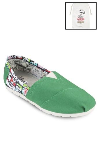 JC 史努比印zalora 內衣花撞色懶人鞋, 鞋, 鞋