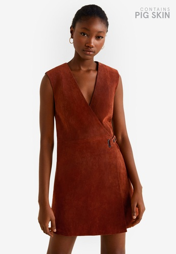 Mango orange Leather Wrapped Dress F14AEAA0B5E3D1GS_1