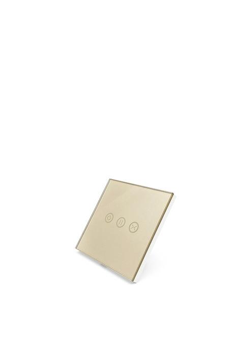 UKGPro 金色WiFi無線一體化輕觸式智能窗簾開關,室內改裝安裝電燈窗簾抽氣扇場景燈制手機APP UKG Smart Life語音操控安卓iOS零火供電(U-DS151-GD)