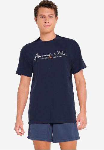 Abercrombie & Fitch navy Logocon Script T-Shirt 4A463AACA3075FGS_1