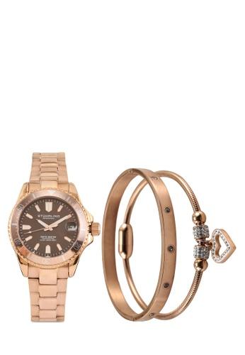 Stuhrling Original pink and gold Depthmaster 3950AL Quartz Watch Set 0C201ACE1F2419GS_1