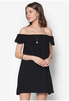 Chiffon Bardot Cap Sleeve Shift Dress