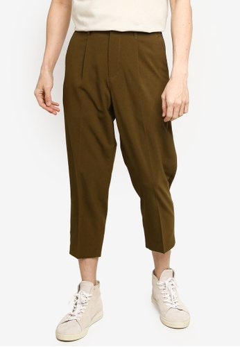 GLOBAL WORK green Woven Cropped Trousers 742FBAAAD3D9C6GS_1
