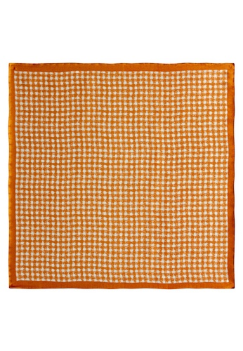 Red Stag And Hind orange Red Stag And Hind Orange Checked Silk Pocket Square 21DF0ACAB96E39GS_1