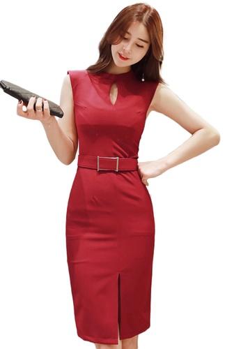 Sunnydaysweety red Korean Style Hollow Slim-Fit Hip One Piece Dress A21022227RD B6B66AA39E4B93GS_1