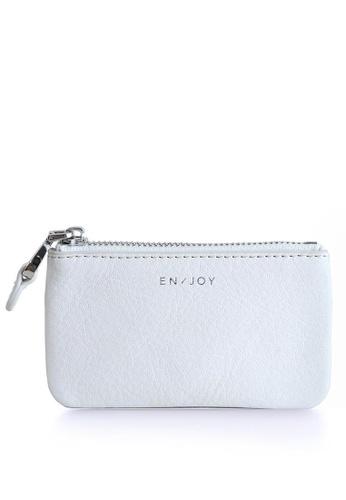 Enjoybag white Felicia`s Italian Cowhide Leather Top Zip Coin Purse EN763AC24SKHHK_1