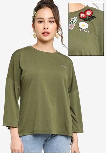 Lubna green Oversize T-Shirt With DIY Loose Patches 0C64CAAB71918FGS_1