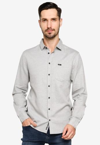 BLEND grey Textured Slim Fit Shirt FEE62AAC64906DGS_1
