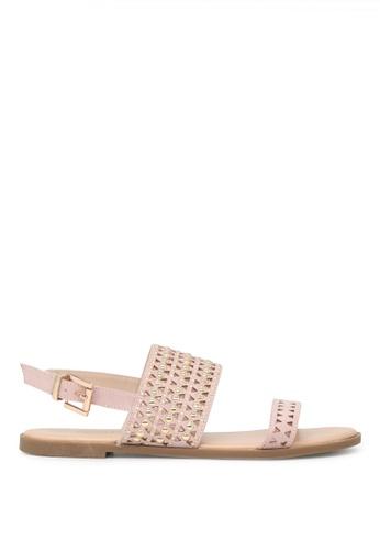 London Rag beige Florence Ankle Strap Flat Sandals SH1646 4FEE2SH9331B48GS_1