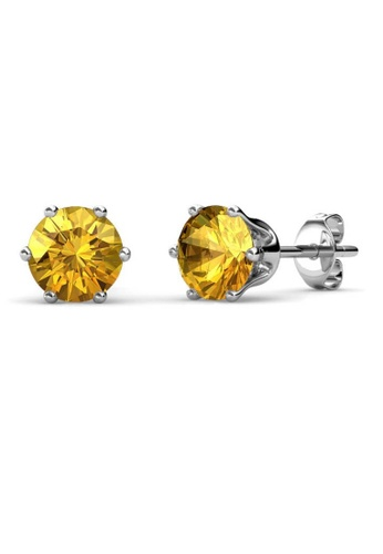 Her Jewellery yellow Birth Stone Earrings (November, White Gold) - Made with premium grade crystals from Austria 63F66ACE6E63F2GS_1