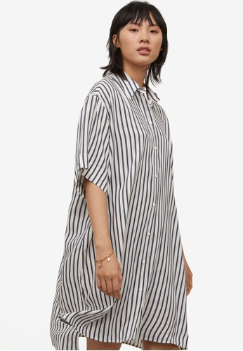 H&M white and multi Shirt Dress 780DBAAF23678CGS_1
