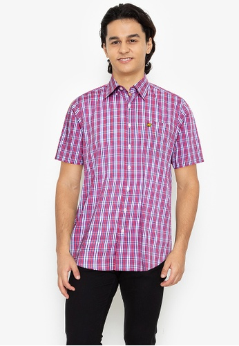 Jack Nicklaus red Black Label - Short Sleeve 3-Colors Medium Plaid Woven Shirt - Confetti E8724AAEE7E18CGS_1