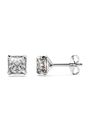 925 Signature 銀色 925 SIGNATURE Solid 925 Sterling Silver Princess Cut Stud Earrings 7D699ACE562FF9GS_1