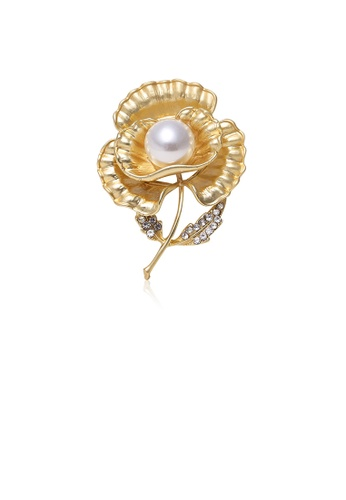 Glamorousky white Fashion and Elegant Plated Gold Flower Imitation Pearl Brooch with Cubic Zirconia 375B3AC7C3EFB5GS_1