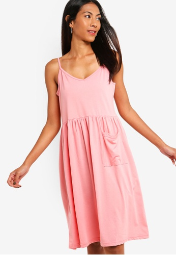 ZALORA BASICS pink Basic Midi Cami Dress With Pocket EDF89AA9DD64E1GS_1