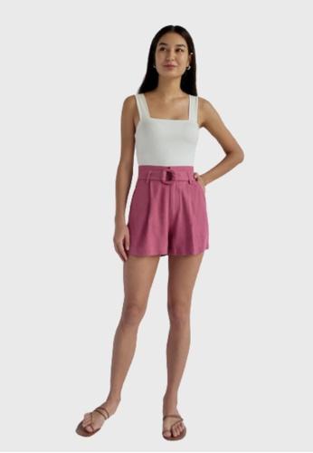 Love, Bonito purple Oaklee Belted Shorts DFA0AAA4FFB92BGS_1