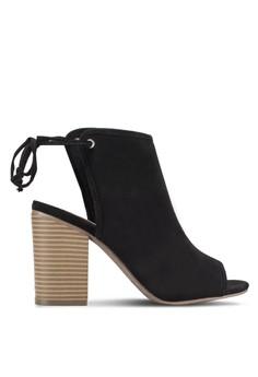 【ZALORA】 露趾繫帶踝帶粗跟涼鞋