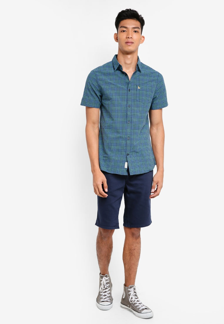Shirt Green Wills Woodham Navy Sleeve Short Seersucker Jack qwzX0tz