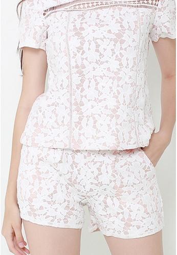 Leline Style white Jayne Overlay Crotchet Shorts LE802AA12FCDSG_1
