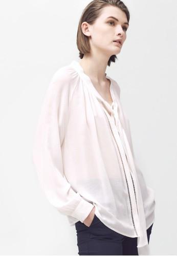 梯形zalora 台灣鏤空繫帶長袖上衣, 服飾, 上衣