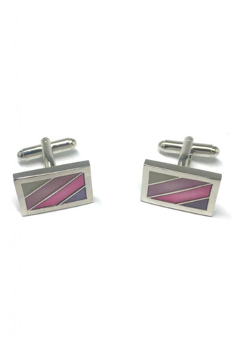 Splice Cufflinks multi Purple, Pink and Green Stripes Rectangular Cufflinks SP744AC11FTGSG_1