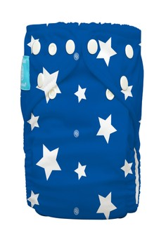 White Stars on Blue 2-in-1 cloth baby diaper