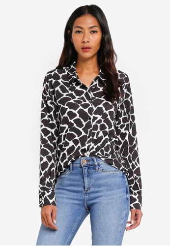 River Island black Giraffe Print Long Sleeve Blouse B27F7AA838F604GS_1
