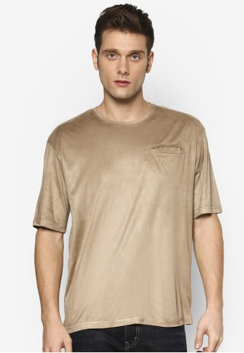 ZALORA Suede Tee With Concealed Pocket