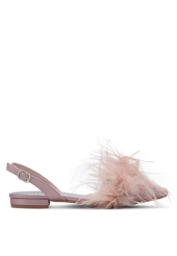 Velvet pink Feather Slingback Flats 6000ESHBDBDB55GS_1
