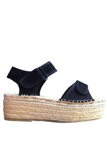 Twenty Eight Shoes 黑色 麻編厚底涼鞋 VM1618 TW446SH73BJUHK_1