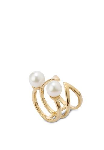 Buy Wanderlust Co Double Bar & Pearl Gold Ring line on ZALORA