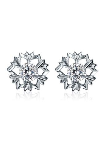 LYCKA silver LFF5215-LYCKA-S925 Siliver White Zircon Snowflake Earrings-Silver EA088AC1DAD729GS_1