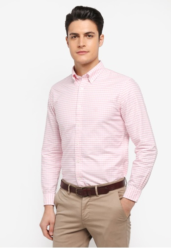 Brooks Brothers pink Red Fleece Oxford Gingham with Logo Pinkging Shirt 08465AA929314FGS_1