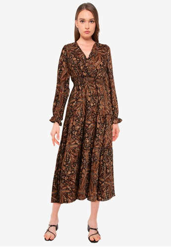 Mango brown Paisley Midi Dress 38022AA2D1ED34GS_1