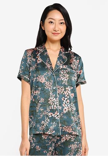 ZALORA BASICS green Lounge Satin Pyjama Shirt C31F4AAAB94765GS_1