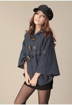 Women's Cute Black Hooded Dot Jacket